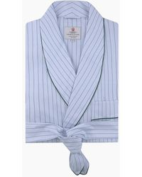 Turnbull & Asser Sky Blue And Turquoise Pinstripe Cotton Gown