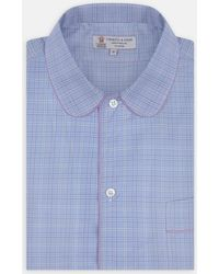 Turnbull & Asser - Blue And Lilac Cross Check Piped Cotton Nightshirt - Lyst