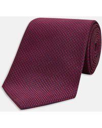 Turnbull & Asser - Slim Navy And Burgundy Houndstooth Silk Tie - Lyst
