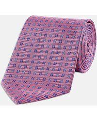 Turnbull & Asser - Pink And Blue Mini Square Spot Silk Tie - Lyst