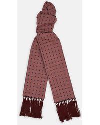 Turnbull & Asser - Soft Red And Navy Spot Silk Noile And Cashmere Reversible Scarf - Lyst