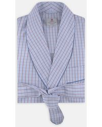 Turnbull & Asser - Sky Blue And Red Pin Check Cotton Gown - Lyst