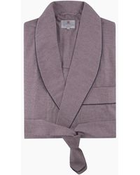 Turnbull & Asser Navy And Red Puppytooth Cotton Gown - Purple