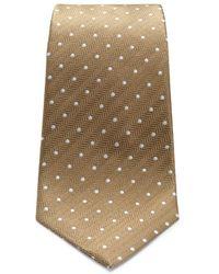Turnbull & Asser - Khaki And White Small Spot Herringbone Silk Tie - Lyst
