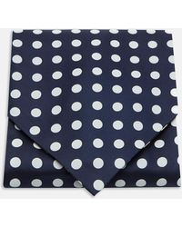 Turnbull & Asser - Navy And White Large Spot Silk Ascot Tie - Lyst