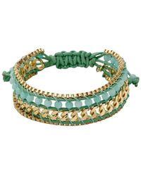 Pilgrim - Gold Plated Green Bracelet - Lyst