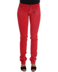 CoSTUME NATIONAL Cotton Stretch Slim Jeans Red Sig30121
