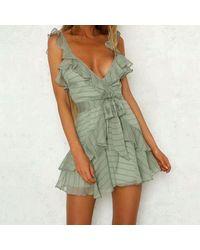 XXVI LONDON Khaki Sleeveless Ruffle Mini Dress - Green