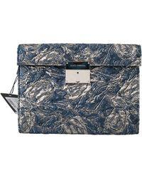 Dolce & Gabbana Blue Silver Jacquard Leather Document Briefcase Bag