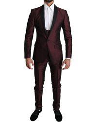 Dolce & Gabbana Maroon Single Breasted 3 Piece Martini Suit - Multicolour