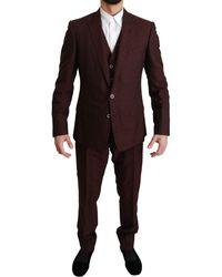 Dolce & Gabbana Maroon Brocade 3 Piece Wool Martini Suit - Multicolour