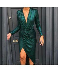 John Zack Forest Green Sequin Maxi Dress