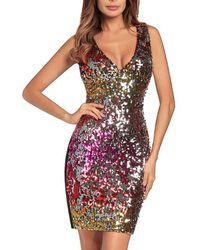 XXVI LONDON Sequin Multicoloured Holographic Dress