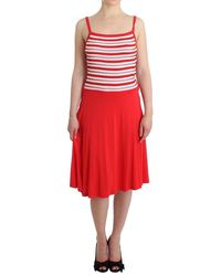 Roccobarocco Red Striped Jersey A-line Dress