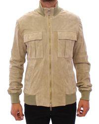 John Galliano Beige Suede Leather Jacket Coat - Natural