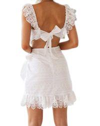 XXVI LONDON Cheryl White Lace Mini Dress