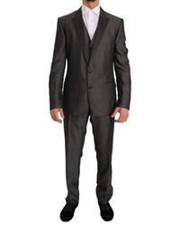 Dolce & Gabbana Grey Silk Wool Martini Slim Fit 3 Piece Suit