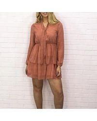 XXVI LONDON Holy Polka Dot Tiered Frill Detail Pink Mini Dress