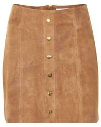 Gestuz Kristin Suede Skirt - Natural