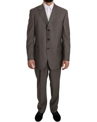 Z Zegna Grey Brown Pattern Two Piece 3 Button Wool Suit