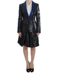 Exte Black Blue Two Piece Suit Skirt & Blazer