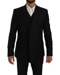 Dolce & Gabbana Blue Double Breasted 3 Piece Martini Suit