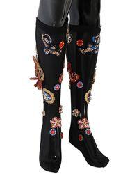 Dolce & Gabbana Black Stretch Carretto Crystal Socks