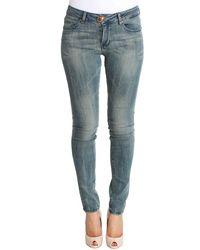 Plein Sud Blue Wash Cotton Stretch Skinny Slim Tight Fit Jeans