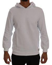 Daniele Alessandrini White Pullover Hodded Cotton Jumper - Grey
