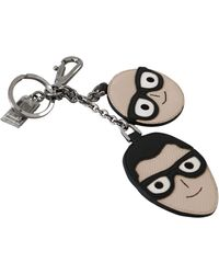 Dolce & Gabbana Leather Dominico Stefano #dgfamily Logo Keychain - Black