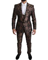 Dolce & Gabbana Rose Gold Floral Brocade 3 Piece Martini Suit - Black