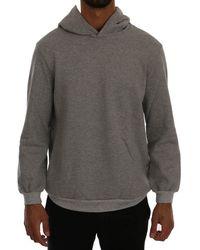 Daniele Alessandrini Grey Pullover Hodded Cotton Jumper