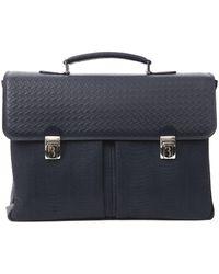 Billionaire Italian Couture Blu Navy Briefcase - Blue