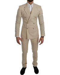 Dolce & Gabbana 3 Piece Wool Suit Beige Kos1740 - Natural
