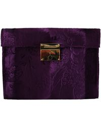 Dolce & Gabbana Purple Velvet Leather Women Document Briefcase Bag