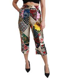 Dolce & Gabbana Print High Waist Cropped Trouser Multicolour Pan70937