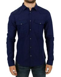 CoSTUME NATIONAL Blue Chequered Cotton Shirt