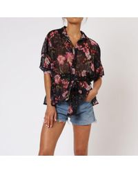 Religion Gem Long Sleeve Floral Shirt - Black