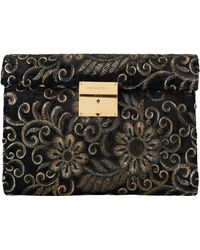 Dolce & Gabbana Black Ricamo Sequined Leather Document Briefcase Bag