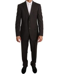 Z Zegna Brown Solid Two Piece 2 Button Wool Suit - Black