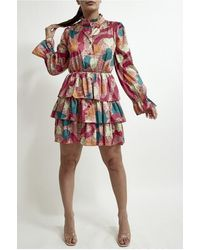 XXVI LONDON Women's Dusty Pink Printed Tiered Dress