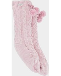 UGG Pom Pom Fleece Lined Crew Sock Acrylic Blend Socks - Pink