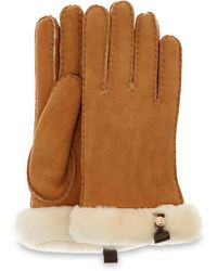 UGG Shorty Glove With Leather Trim Gants pour - Marron