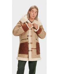 UGG Yates Shearling Hooded Coat - Natural