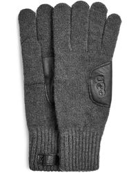UGG Knit with Leather Patch Handschuhe für - Grau