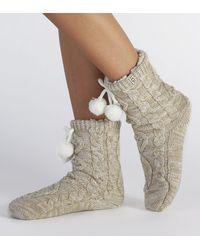 UGG Pom Pom Fleece Lined Crew Sock - Natural