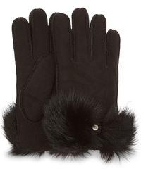 UGG Long Pile Bow Handschuhe Stiefel für - Schwarz
