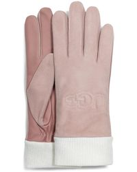 UGG Shorty Glove With Leather Trim - Roze