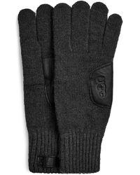 UGG Knit With Leather Patch Handschoenen - Zwart