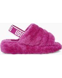 b94fefd17d2 UGG Women's Fluff Yeah Logo Slide in Pink - Lyst